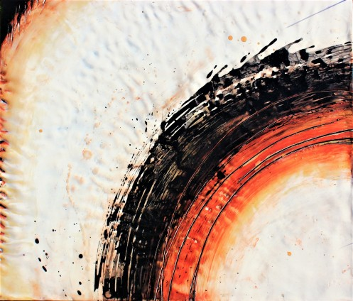 Fire Whirl, 2018 Beeswax, pigment, oil, and India ink on wood 48 x 48 inches, sold