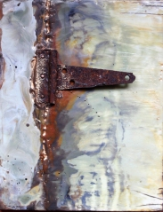 Keeping it all Together, 2014 Beeswax, pigment and metal on wood From the collection of the artist